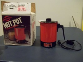 Very Good Used West Bend 8 Cup Hot Pot In Orange Model 3253 Complete Works - $17.81