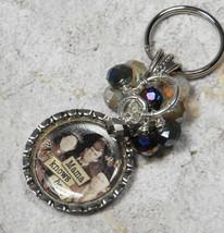 Mama Knows Best Bottle Cap Keychain Crystal Beaded Handmade Split Key Ri... - $13.09