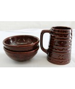 Lot of 3 McCoy? USA brown glazed stoneware 2 soup bowls and large mug stein - $25.00