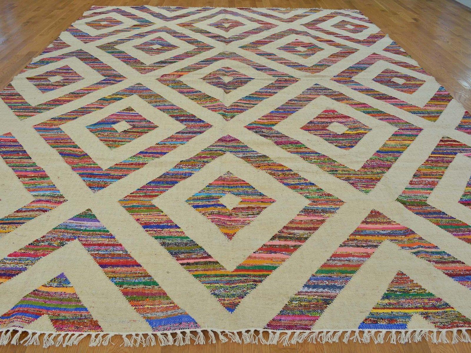 10'x14' Wool And Sari Silk Geometric Durie Kilim Oriental Rug Hand Woven G21532
