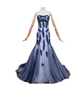 Kivary Beaded Sweetheart Mermaid Long Tulle Gothic Corset Lace Prom Even... - $168.29