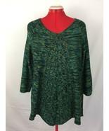 Notations Green Knit Raglan Sweater 3/4 Sleeve Trapezoidal Silhouette Women - $39.95