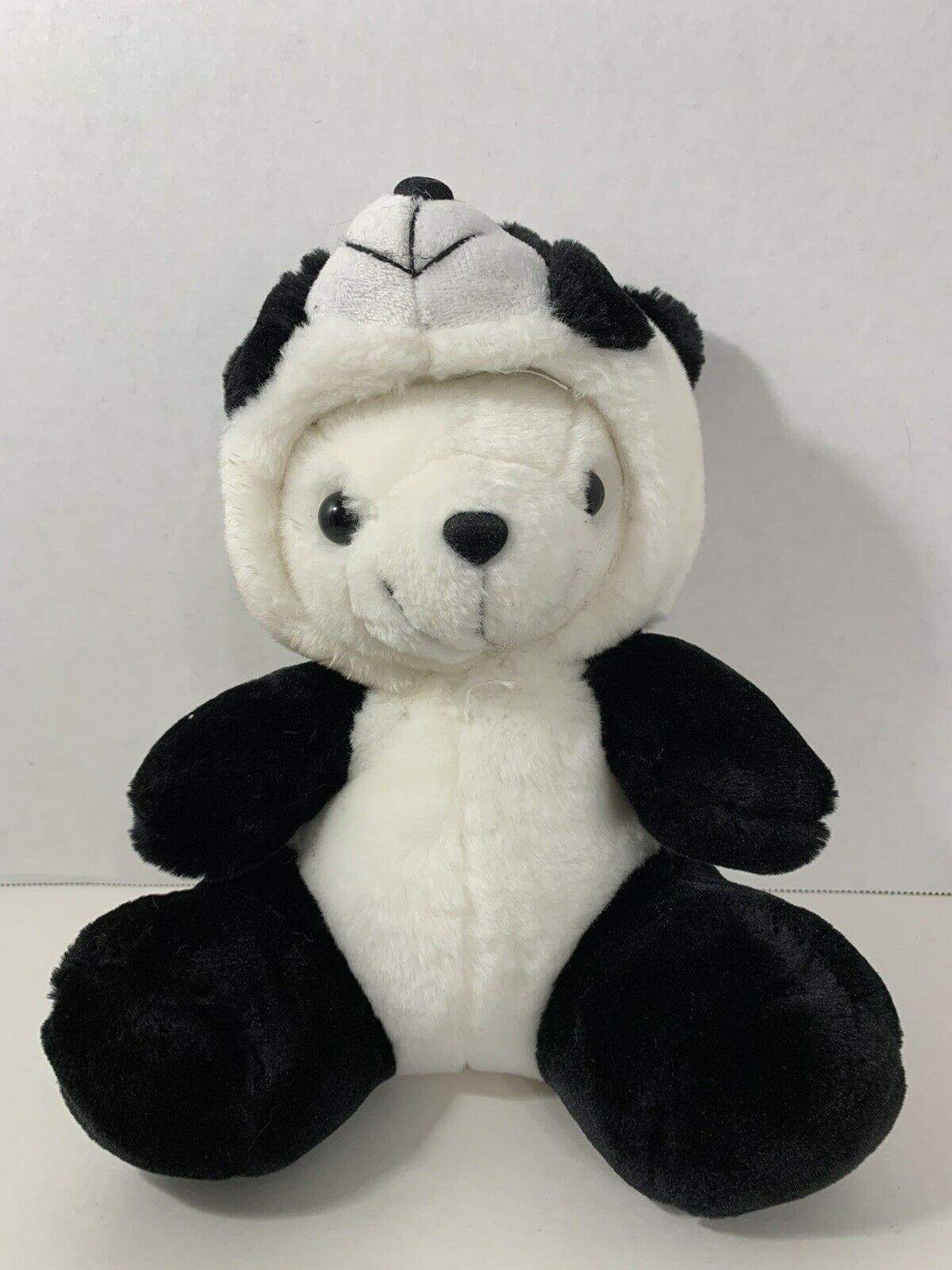 Primary image for plush white polar teddy bear in panda costume suit hood