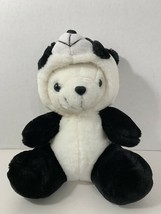 plush white polar teddy bear in panda costume suit hood - $9.89