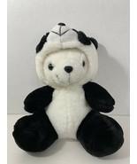 plush white polar teddy bear in panda costume suit hood - $9.89