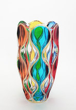 Red Sea vase bohemia crystal handpainted Murano style Venezia - $255.00