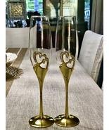 Dazzling Hearts Toasting Flutes (2), Wedding Glasses, Champagne Flutes, Elegant  - £34.52 GBP