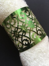 100pcs Metallic Paper Green Laser Cut Towel Wrappers,Napkin Rings - $34.00
