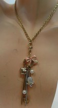 """Betsey Johnson Goldtone Charm Necklace Adj to 19""""15"""" Crowned Mouse Main ... - $19.80"""