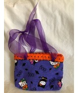Hello Kitty Child's Halloween Themed Cloth Purse Ribbon Handles Handmade - $12.86