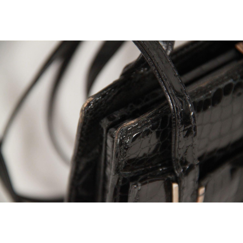 Authentic GUCCI VINTAGE Black CROCODILE Leather SHOULDER BAG