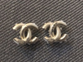 SALE*** Authentic CHANEL Crystal CC Logo Pearl Stud Earrings Gold  image 8