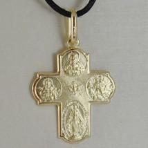 18K YELLOW CROSS & SACRED HEART MIRACULOUS SAINT CHRISTOPHER VIRGIN CARMEL MEDAL image 2