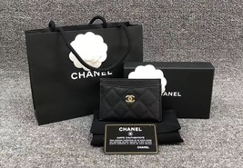 BNIB AUTH CHANEL 2019 BLACK QUILTED CAVIAR CARD HOLDER WALLET