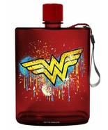 Spoontiques 21152 Wonder Woman Graffiti Acrylic Flask, 12 ounces, Red - $13.81
