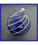 "Hanging Glass Ball 4"" Diameter Cobalt Blue with Lime Lines (1) HB14 - $15.84"