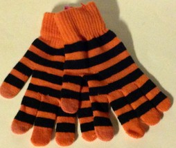 LADIES GLOVES NEW HALLOWEEN BLACK ORANGE STRIPED TOUCH SCREEN ONE SIZE - $6.19