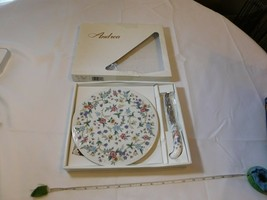"""Andrea by Sadek Porcelain Cheese Plate with Knife Wild Flowers 9"""" round ... - £16.48 GBP"""