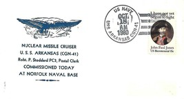 USS Arkansas (CGN-41) 18 Oct 1980 First Day in Commission Nicholson Cachet - $3.47
