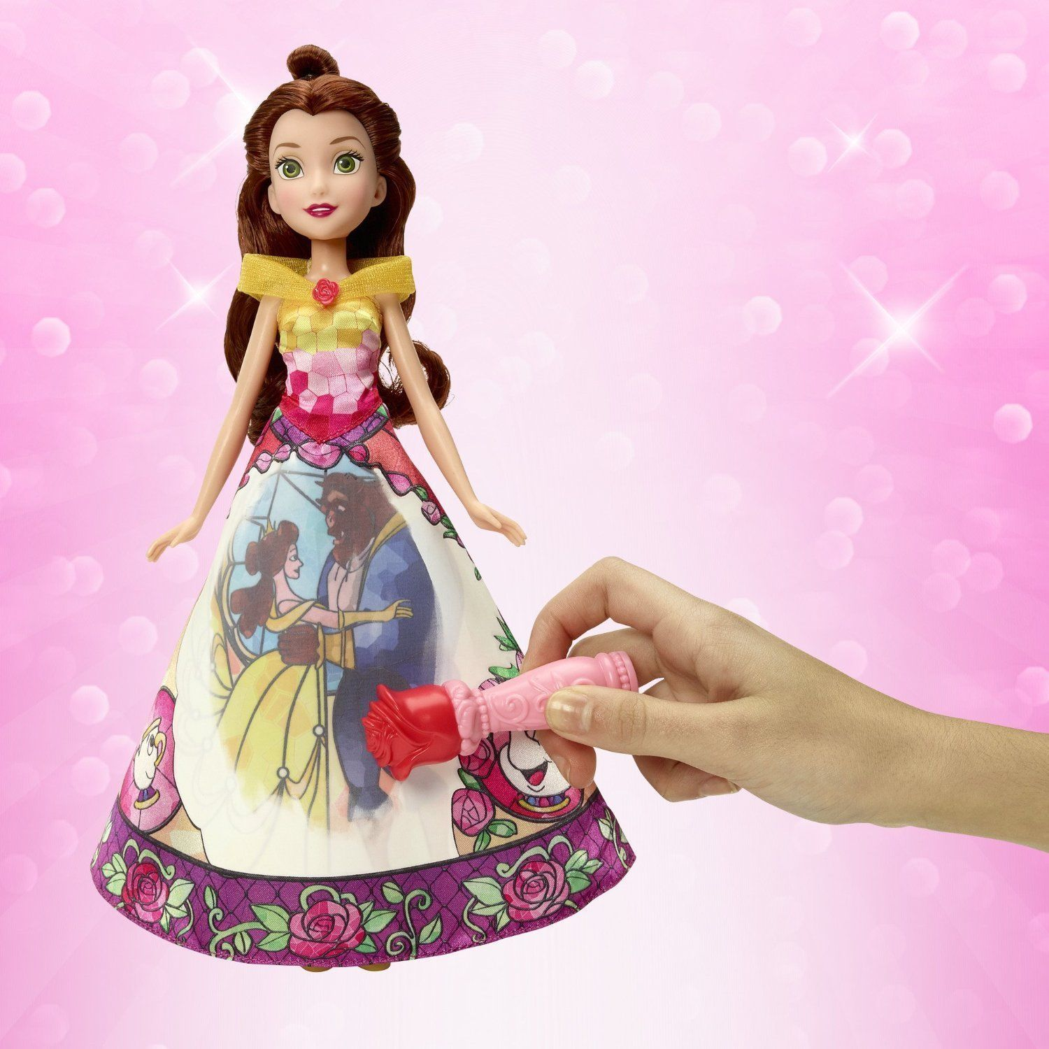 Image 4 of Disney Princess Belle's Magical Story Skirt Doll in Fuchsia/Yellow by Hasbro