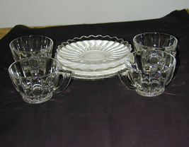 Heisey Crystolite 4 Sets Cups and Saucers - Signed - $15.00