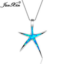 Fashion Blue Fire Opal Necklace Women Star White Gold Filled Necklaces &... - $14.24