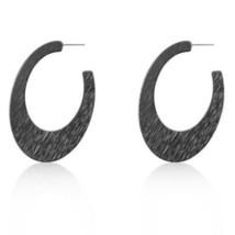 Contemporary Hematite Textured Hoop Earrings - $13.52
