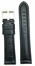 22mm Long, Panerai Style, Medium Padded, Black Alli Croco Grained Leathe... - $36.41