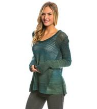 NWT New Womens L Prana Julien Sweater Top Organic Dark Teal Blue Logo LS... - $217.64
