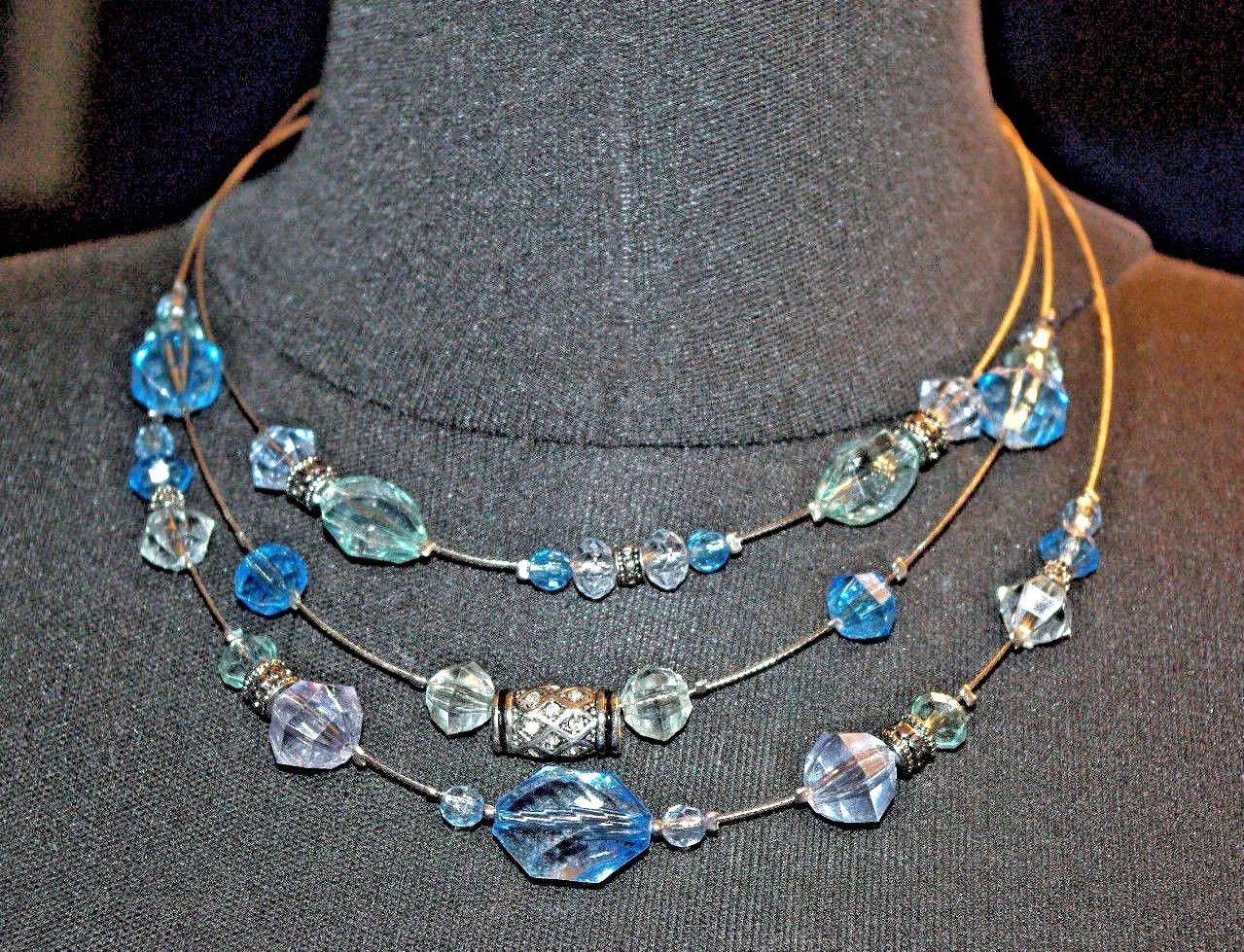 Napier 3 Strand Wire Necklace Blue Clear & Silver Beads Vintage Necklace image 4