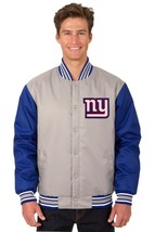 NFL New York Giants  Poly Twill Jacket Charcoal  Royal Blue Patch Logo JH Design - $99.99