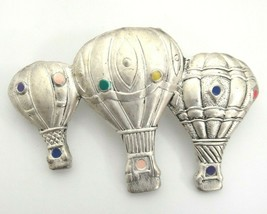 """Danecraft Hot Air Balloons Brooch Pin Pewter with Colored Enameled Dots 2.5"""" - $9.40"""