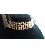 "13.5-16"" Natural Peach Pearl and Iolite Beadwoven Choker, Necklace, #527 - $180.00"