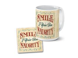 Smile If You've Been Naughty Mug & Coaster Combo Set - $23.95