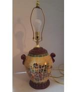 Mosaic Tile Table Lamp Three-way Light Birds Fruit Yellow Green Urn Style - $86.42