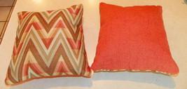 Pair of Orange Tan Chevron Print Throw Pillows  10 x 10 - $29.95