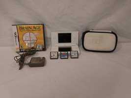 Nintendo DS Lite System White 4 Games Charger + Case Brain Age + Aquariu... - $52.02