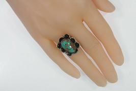 Vintage Navajo Sterling Silver Turquoise Ring Sz 9 - $92.80