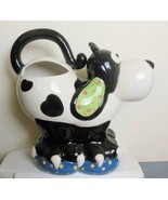 Smiling Dog Pitcher Black and White Doggie Tail Makes the Handle - $24.00