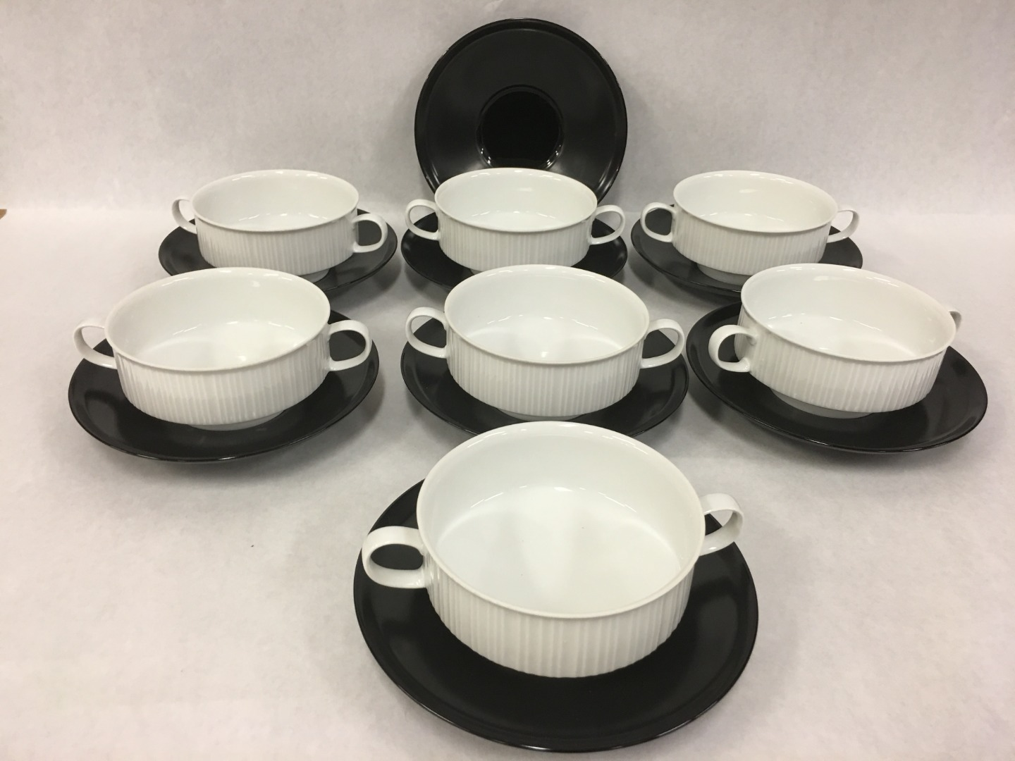 Primary image for Set of 7 Footed Cream Soup Bowl & Saucer Set Variations ROSENTHAL CONTINENTAL