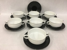 Set Of 7 Footed Cream Soup Bowl & Saucer Set Variations Rosenthal Continental - $201.95