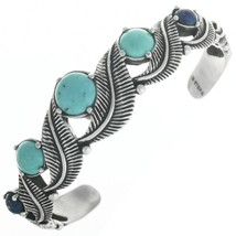 Vintage Old Pawn Turquoise Lapis Bracelet Sterling Silver Leaves Cuff s6... - $229.00