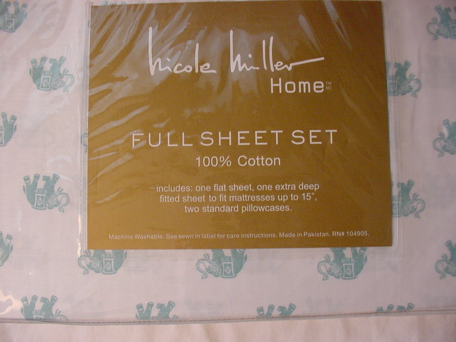 Nicole Miller Aqua Elephants on White Cotton Sheet Set Full