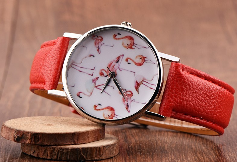 Round Lovely Flamingo Watches Women White Leather Casual Wristwatch image 2