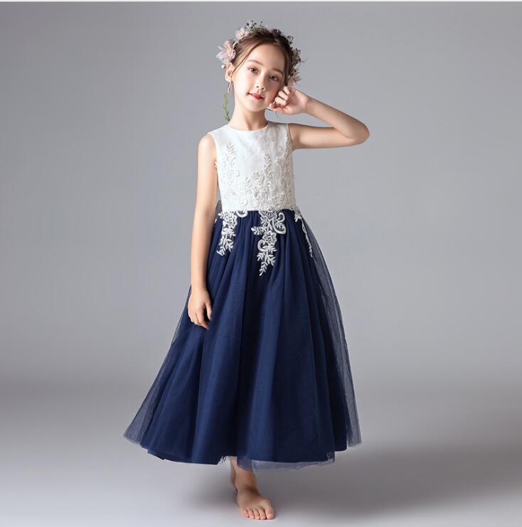 Flower Girl Dress Appliqued Tulle A Line Dance Skirts Vintage Children Party
