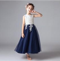 Flower Girl Dress Appliqued Tulle A Line Dance Skirts Vintage Children Party  image 2