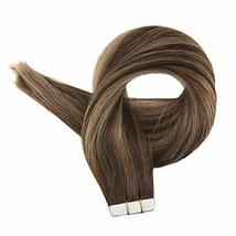 """Easyouth Tape Remy Hair Extensions 18"""" 50g 20Pcs Per Package Colour 4 Dark Brown image 3"""
