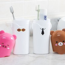 Holder Toothbrush Storage Cup Bathroom Plastic Toothpaste Organizer Port... - $5.99