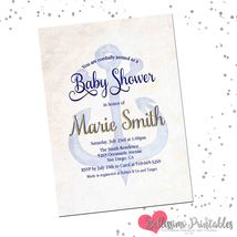 Nautical anchor baby shower invitation personalized 1st birthday waterco... - $0.99