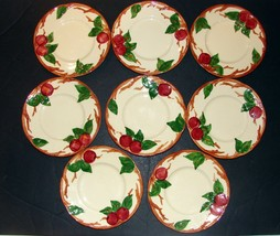 "SET 8 VINTAGE FRANCISCAN APPLE BREAD & BUTTER PLATES 6-1/2"" EARTHENWARE ... - $37.62"